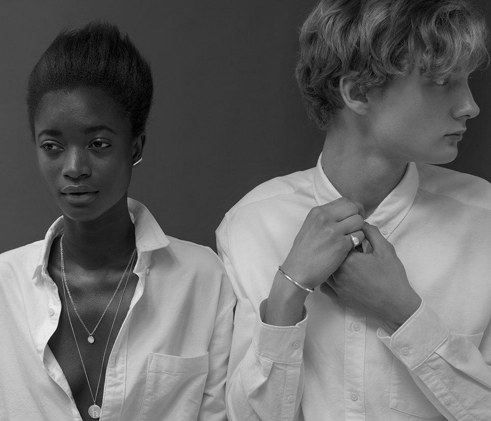 black-and-white-photo-woman-man-white-shirts-unisex-jewelry