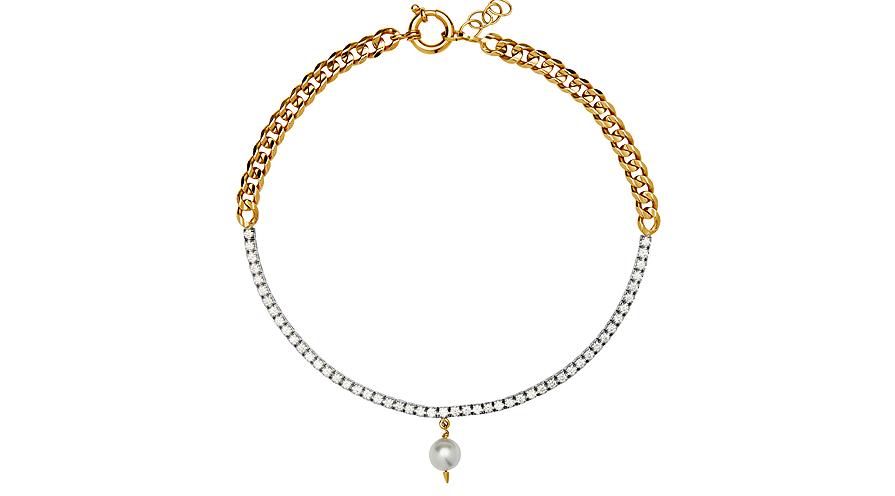 Riviera Noveau Necklace i 18K rött och vitt guld med diamanter samt en sötvattenspärla från Maria Nilsdotter.