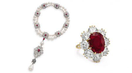 Diamantring med röd rubin och pärlhalsbandet La Peregrina