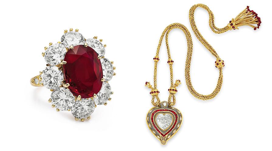 Röd rubin och diamanthänge