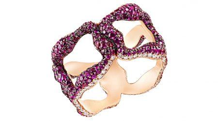 Rubinring i roseguld och med fler än 500(!) rubiner. Från Fabergé