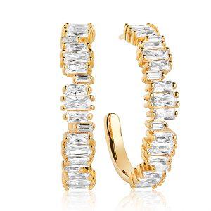 Gnistrande örhängen i 18K guldpläterat Sterlingsilver med baguetteslipade Cubic Zirconia från Sif Jakobs