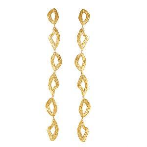 Långa örhängen i 24K guldpläterat, återvunnet silver från Sigrun Conscious Jewellery