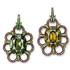 Miss-matchande örhängen från Hemmerle med bruna diamanter och turmaliner