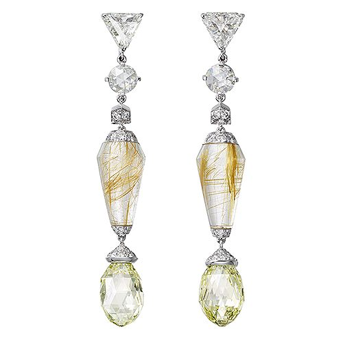 Örhängen av rutilkvarts omgärdade av diamanter förstås. Ur Cartiers kollektion Magnitude.