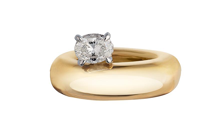 Guldring med diamant