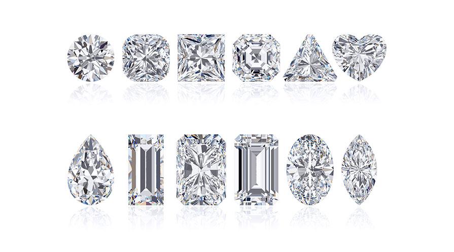 diamanter i olika slipningar