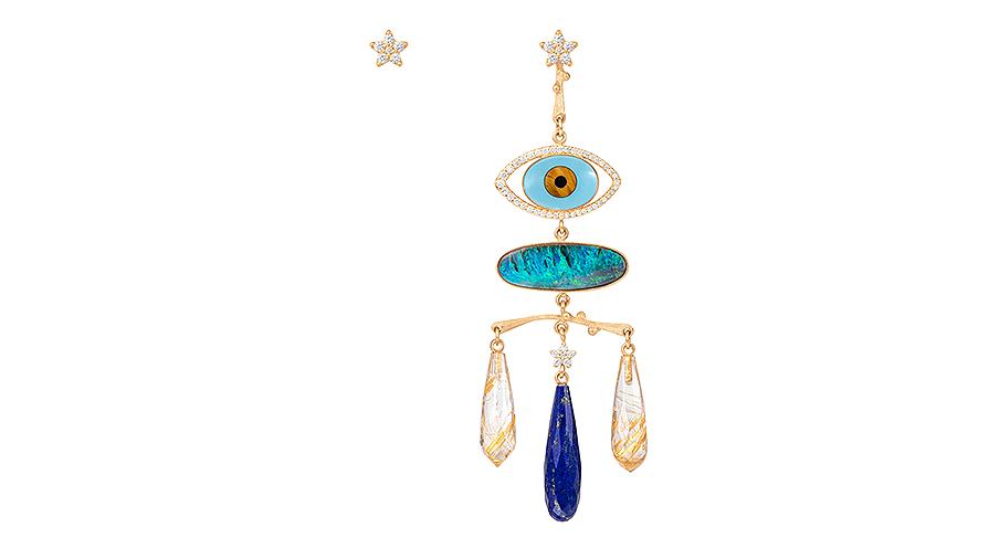Onda ögat tolkat av Charlotte Lynggaard. Med bland annat en opal.