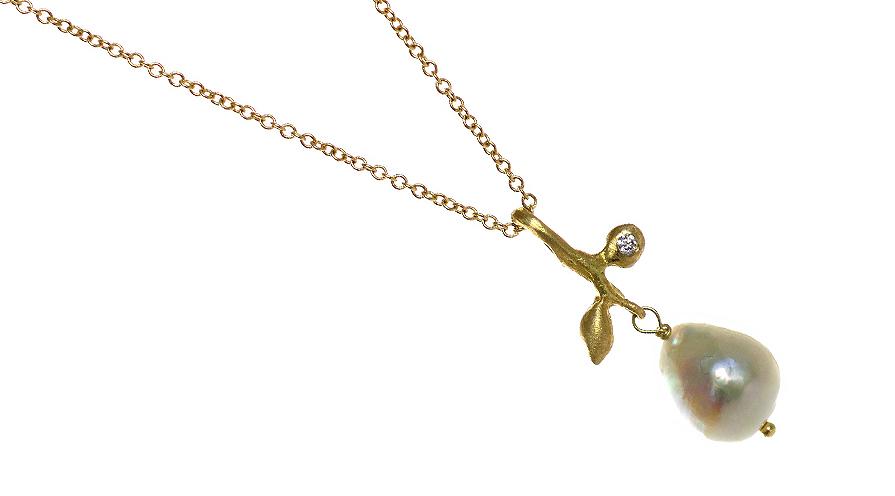 Tunn halskedja med akoyapärla (odlad saltvattenspärla från akoyamusslan) från Johanna Torell