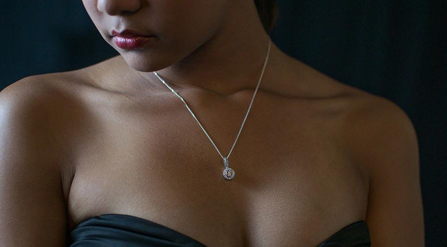 enkelt diamant-halsband