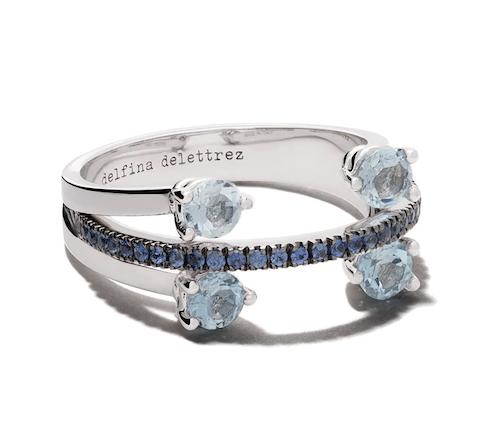 Delfina Delettrez Linked Dots ring i 18K vitt guld med safir och akvamarin