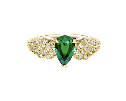 Diamantring med stor smaragd från Pragnell