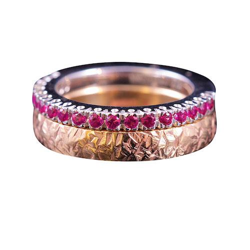 hamrad ring rödguld smal alliansring vitguld rosa safirer