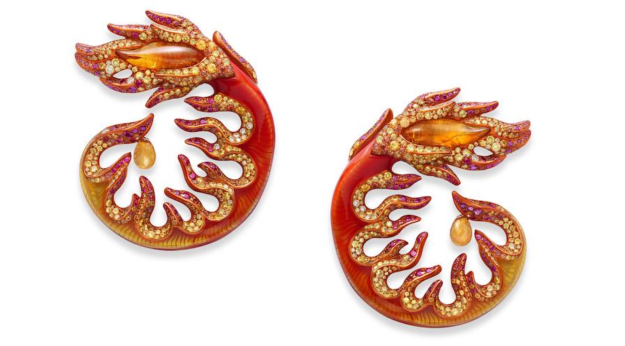 Örhängen tillverkade av gula, orange safirer från Chopard