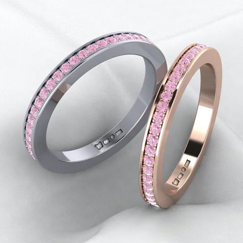 ringar med rosa safirer rosa bandet
